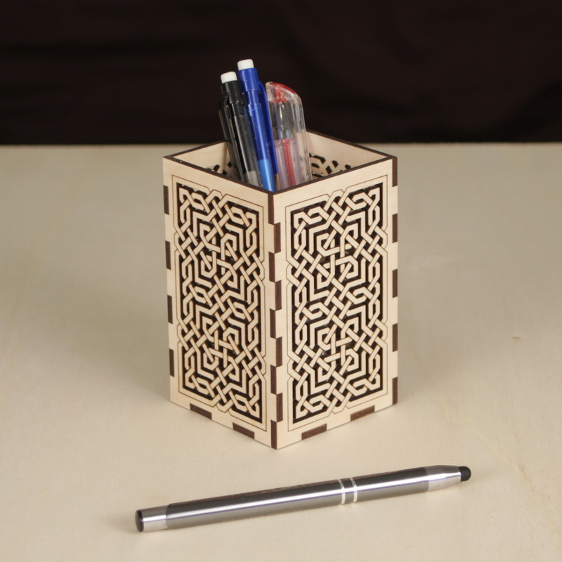 Wooden Laser Cut Pen Holder / Pencil Pot